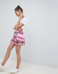Розовая плиссированная мини-юбка в клетку ASOS DESIGN - Мульти