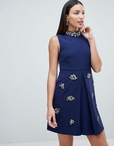 Свободное платье с отделкой Forever Unique - Темно-синий