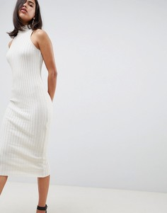 Трикотажное платье миди в рубчик ASOS DESIGN - Бежевый