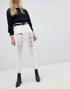 Рваные джинсы в винтажном стиле с завышенной талией Dr Denim Nora - Белый