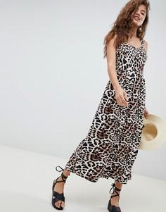Платье макси из ткани с добавлением льна на пуговицах с анималистичным принтом ASOS DESIGN - Мульти