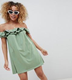 Сарафан с открытыми плечами и оборками ASOS DESIGN Petite - Зеленый