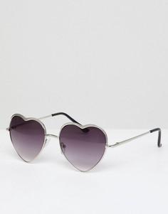 Солнцезащитные очки с оправой в форме сердец AJ Morgan - Серебряный