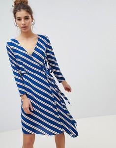Асимметричное платье миди в полоску с запахом New Look - Синий