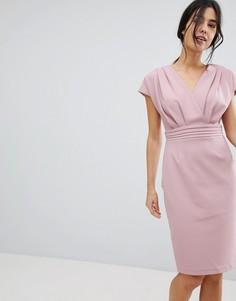 Розовое платье-кимоно с плиссировкой Paper Dolls - Розовый