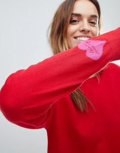 Красный свитшот с узором в форме сердца на рукаве Tommy Hilfiger - Красный