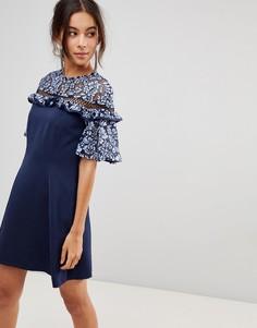 Платье с цветочным принтом на вставке и кружевной отделкой Keepsake - Синий
