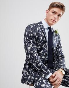 Приталенный пиджак с принтом Jack & Jones Premium - Темно-синий