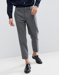 Узкие укороченные брюки из смесовой шерсти Farah - Серый