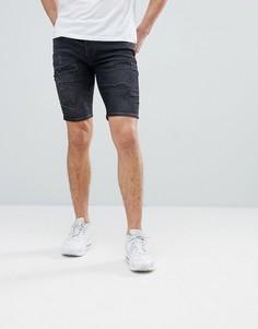 Черные рваные джинсовые шорты River Island - Синий