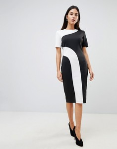 Платье-футболка миди в стиле колор блок ASOS - Мульти