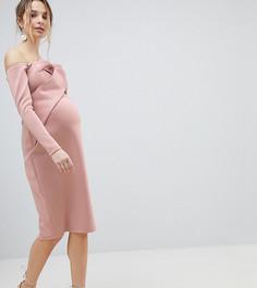 Платье-бандо миди с длинными рукавами ASOS MATERNITY - Розовый