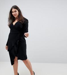 Платье с запахом и оборками ASOS CURVE - Черный