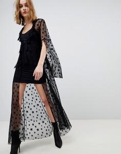 Платье из прозрачной сетки со звездами Anna Sui - Черный