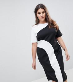Монохромное платье-футболка миди в стиле колор блок ASOS CURVE - Мульти