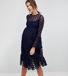 Короткое приталенное сетчатое платье в горошек Queen Bee - Темно-синий