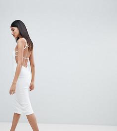 Креповое платье миди с квадратным вырезом и открытой спиной ASOS TALL - Белый