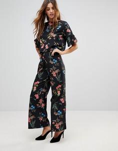 Укороченные брюки с цветочным принтом Rock & Religion - Черный