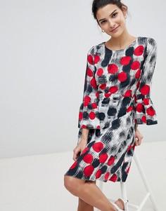 Платье в горошек с рукавами клеш Closet - Мульти