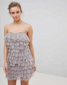 Платье бандо с оборкой Glamorous - Бежевый