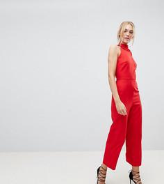 Комбинезон без рукавов с широкими штанинами и оборкой Fashion Union Tall - Красный