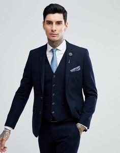 Темно-синий приталенный пиджак Harry Brown - Темно-синий