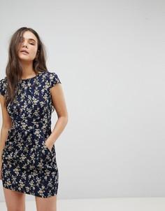 Платье-тюльпан с цветочным принтом QED London - Темно-синий