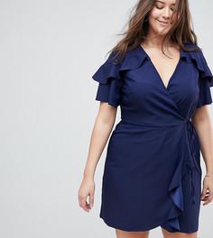 Платье мини с запахом и оборками ASOS CURVE - Темно-синий