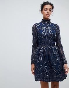 Короткое приталенное платье с пайетками Chi Chi London - Темно-синий