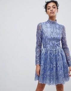 Короткое приталенное платье для выпускного с пайетками Chi Chi London - Фиолетовый