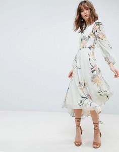 Платье с принтом, длинными рукавами и кружевной отделкой Hope & Ivy - Мульти