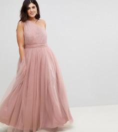 Платье макси на одно плечо из тюля ASOS CURVE PREMIUM - Розовый