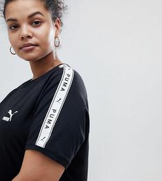 Черная футболка с полосками по бокам Puma Plus эксклюзивно для ASOS - Черный