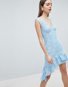 Асимметричное кружевное платье мини с глубоким вырезом ASOS - Мульти