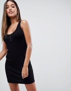 Платье-майка мини с планкой на кнопках ASOS DESIGN - Черный