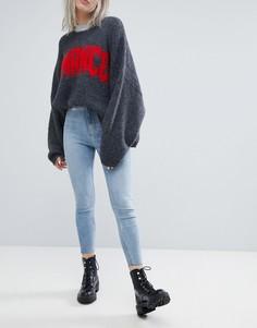 Эластичные облегающие джинсы с завышенной талией и необработанными краями Weekday - Синий