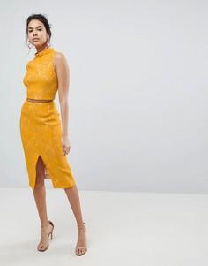 Кружевная юбка миди Keepsake Every Way - Желтый
