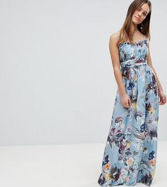 Платье макси с цветочным принтом Little Mistress Petite - Мульти