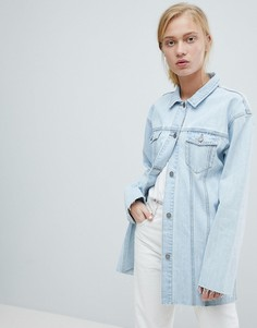 Удлиненная джинсовая куртка с необработанными краями Dr Denim - Синий