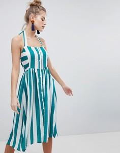 Платье миди в полоску с лямкой через шею Boohoo - Мульти