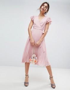 Платье миди с рукавами-оборками и плиссировкой ASOS - Розовый