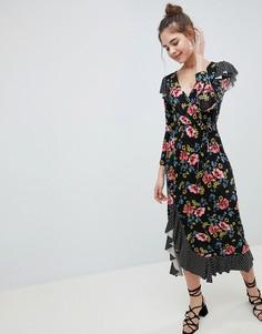 Платье макси с запахом и принтом ASOS DESIGN - Мульти