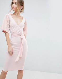 Платье миди с запахом, открытой спиной и завязкой Silver - Розовый
