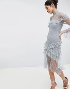 Сетчатое платье миди с оборками Hope & Ivy - Синий