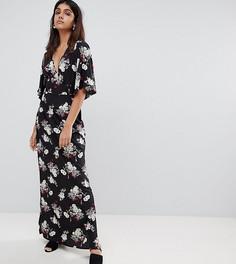 Платье макси с рукавами-кимоно и цветочным принтом Influence Tall - Черный