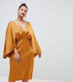 Атласное платье миди с глубоким вырезом и рукавами кимоно ASOS DESIGN Curve - Желтый