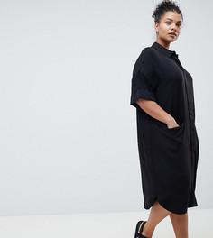 Платье-рубашка с короткими рукавами и драпированными карманами ASOS DESIGN Curve - Черный