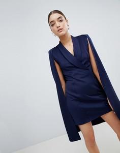 Платье-блейзер с накидкой Club L - Темно-синий