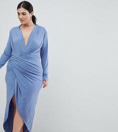 Платье макси с запахом John Zack Plus - Синий