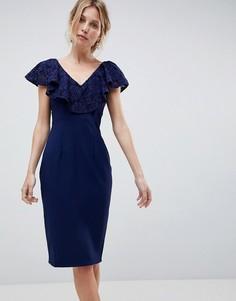 Платье-футляр с кружевными вставками Little Mistress - Темно-синий